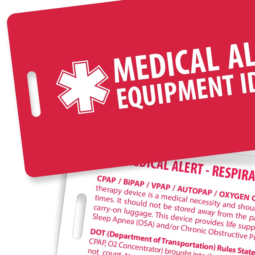 Heavy Duty Medical Alert Luggage Tag for CPAP & BiPAP Therapy