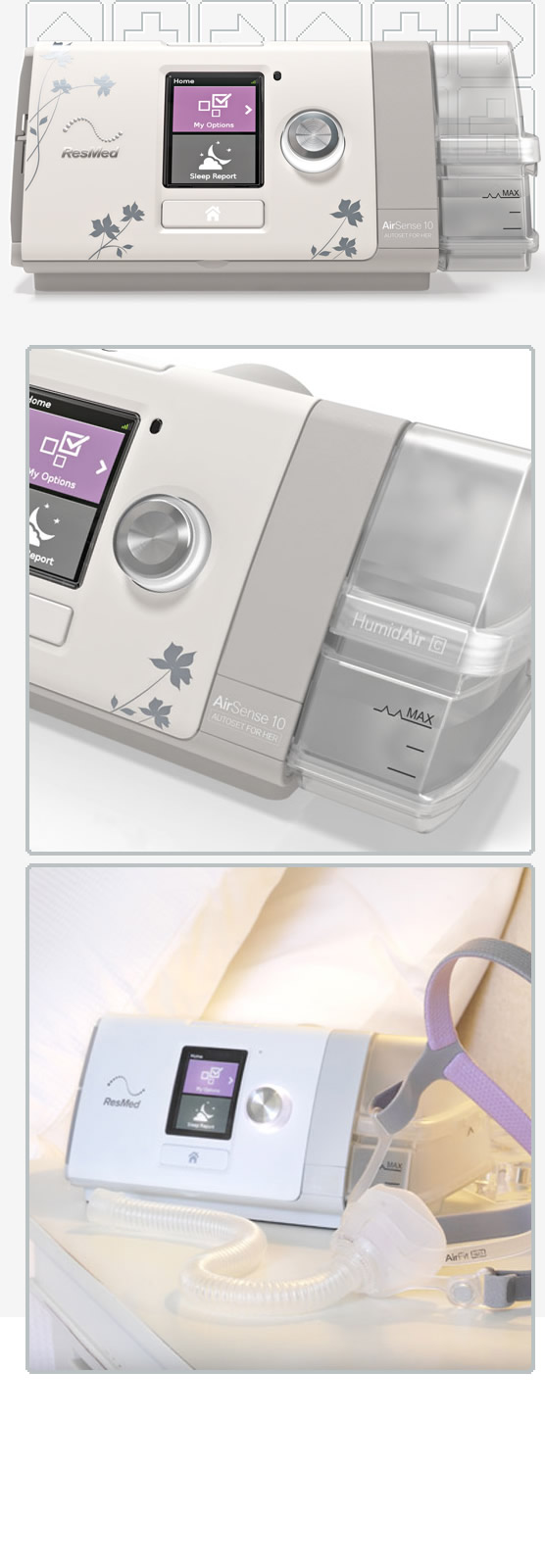 AirSense™ 10 AutoSet For Her Auto-CPAP Machine Package with HumidAir™ Heated Humidifier